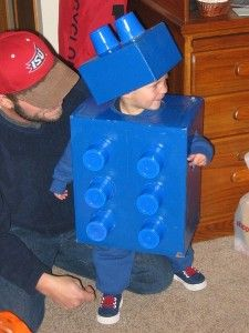 Baby Lego costume - all you need is a box, solo cups, and spray paint. Ready to build!