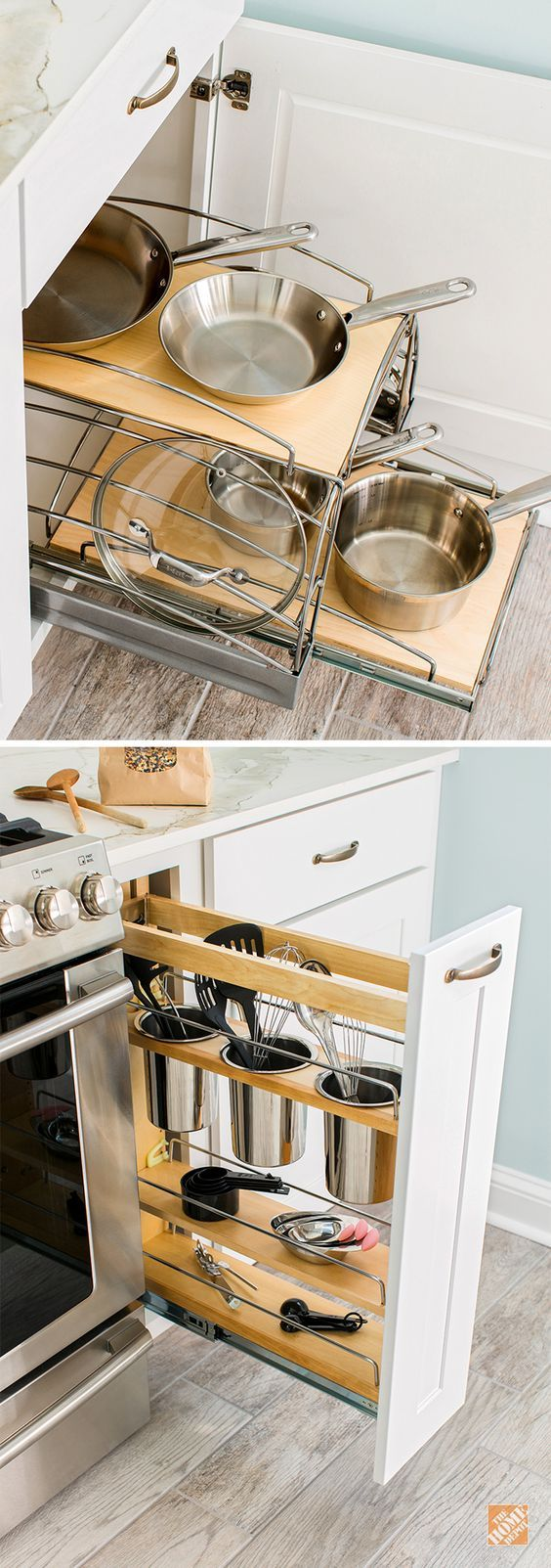 Check out these terrific kitchen storage solutions! These space savers for pots and pans and kitchen utensils are just two possibilities when you install custom cabinets by Thomasville. See more about how The Home Depot can help you create your dream kitchen. #manchesterwarehouse