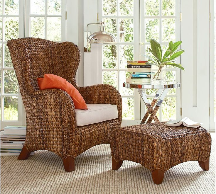 Seagrass Wingback Armchair And Ottoman From Pottery Barn 649 But Also Note The Side Table And