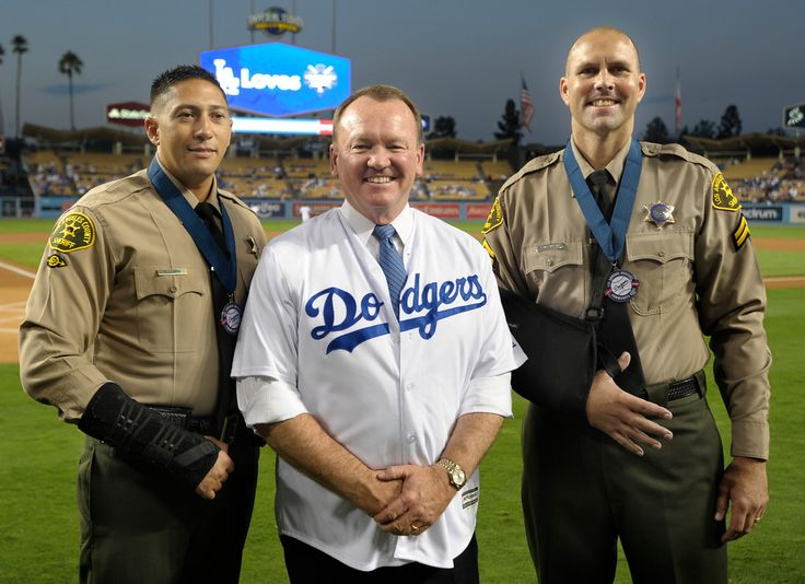 . Before the game, Sheriff Jim McDonnell honored deputies Christopher Allende…