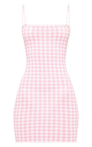 pretty little thing, minnie, pink, gingham, bodycon, dress,