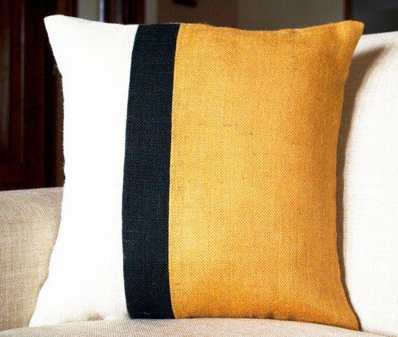 Color Block Pillow cover Gray mustard