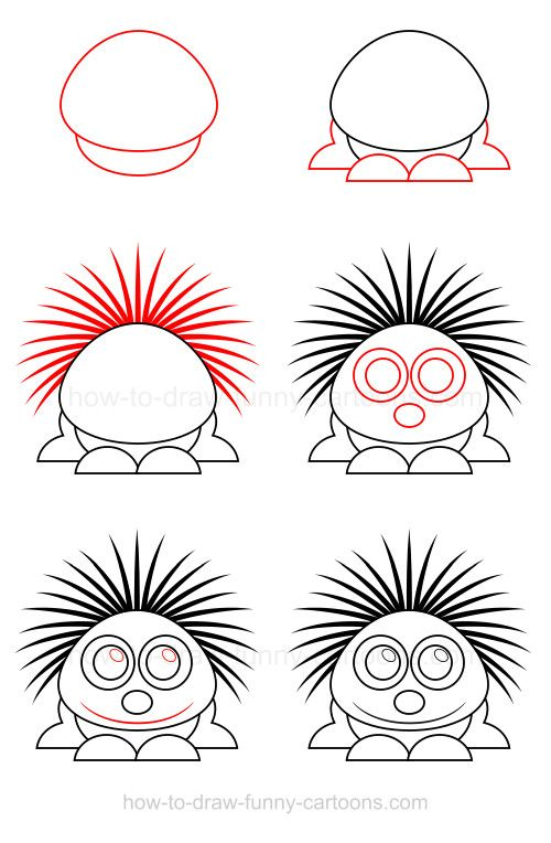 How to draw a porcupine