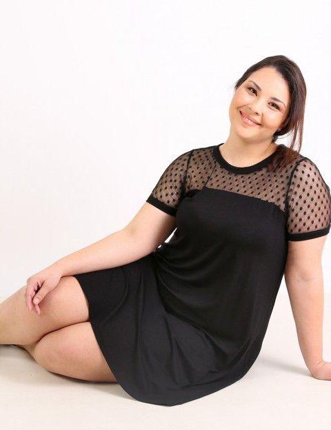 Κλος φόρεμα με πουά δύχτι - Μαύρο