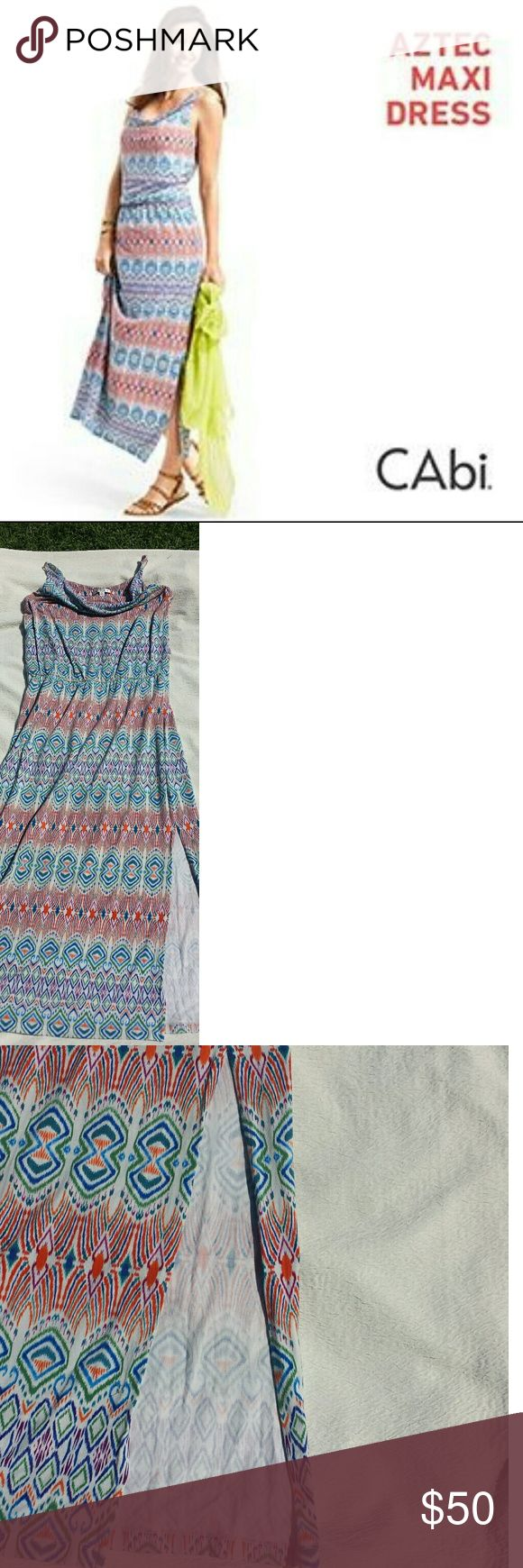 "CAbi Aztec Maxi Dress EUC CAbi Aztec Maxi dress. Very soft fabric with an elastic  waistband, cowl neck line, adjustable straps and a slit on the left side. Layflat measurements  Armpit to Armpit: 21"" Length:  59""  58.5% modal  38% cotton 5.5% spandex Can be machine washed or dry cleaned. Worn twice. CAbi Dresses Maxi"