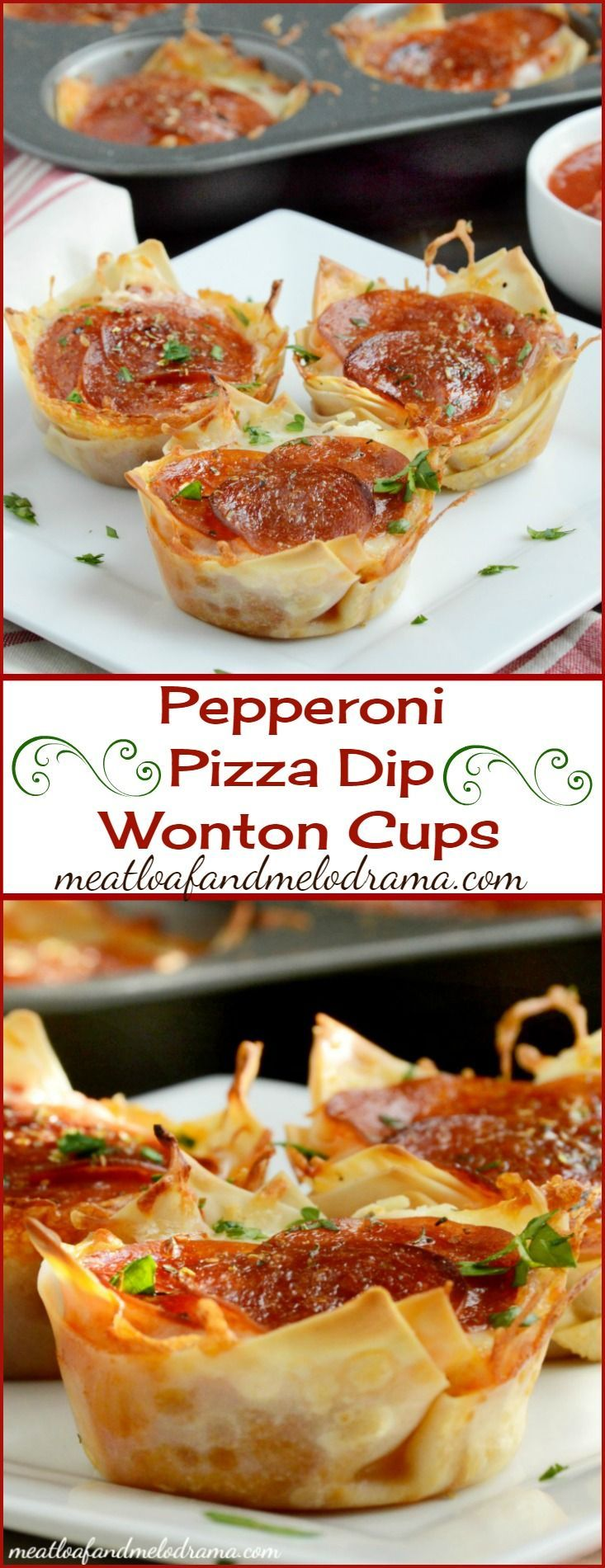Pepperoni Pizza Dip Wonton Cups -- Perfect for game day snacks, appetizers or an easy dinner! Takes about 20 minutes to make!