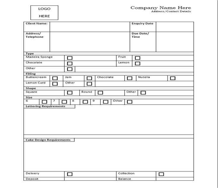 Best Cake Order Forms Images On   Order Form Cake