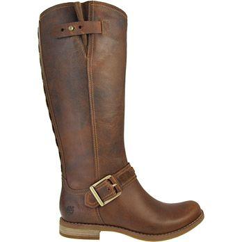 Timberland #8548R  Savin Hill FTW Die dunkelbraunen Damen-Stiefel von Timberland aus der Earthkeepers Kollektion bestehen aus feingenarbtem Leder. Das Innenfutter ist aus Leder gefertigt. Die Schafthöhe beträgt ca. 37cm und die Schaftweite von 34 cm lässt sich durch einen Verschluss verstellen. Die Decksohle ist aus Textil. Die Sohle besteht aus Gummi.