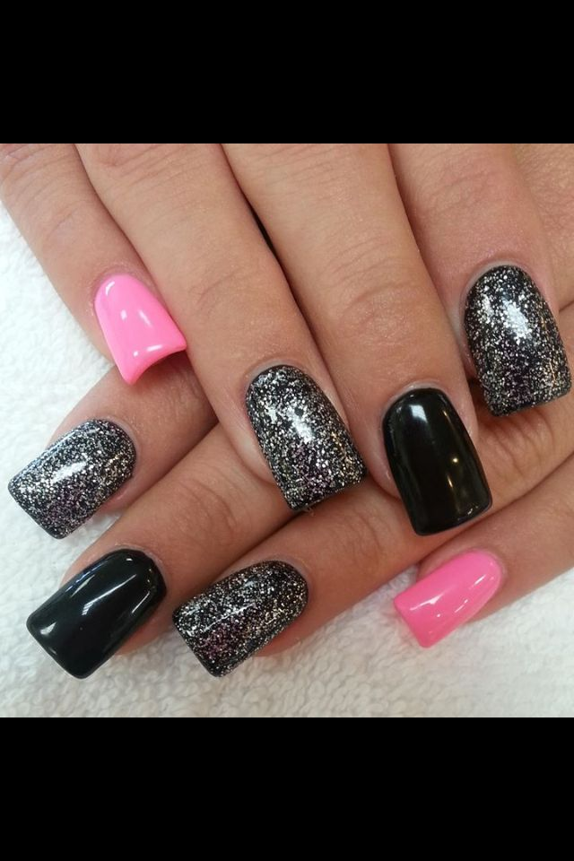 25+ Best Ideas about Black Sparkle Nails on Pinterest ...