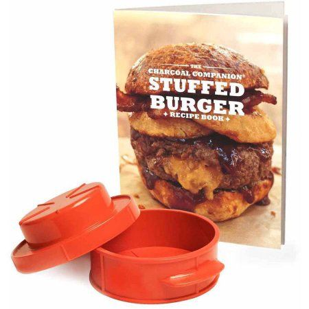 Charcoal Companion Stuffed Burger Recipe Book with Stuffed Burger Press, CC3914, Red