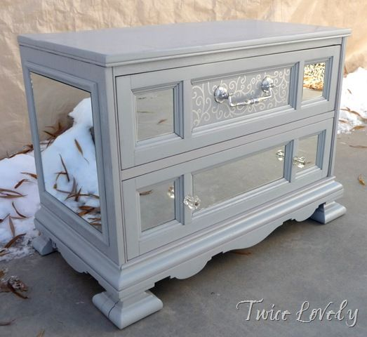 Old Night Stand Refinished With Grey Paint And Mirror Inserts. Looks Great!