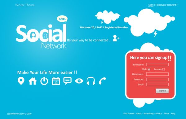 Social Network UI design by Moe slah, via Behance