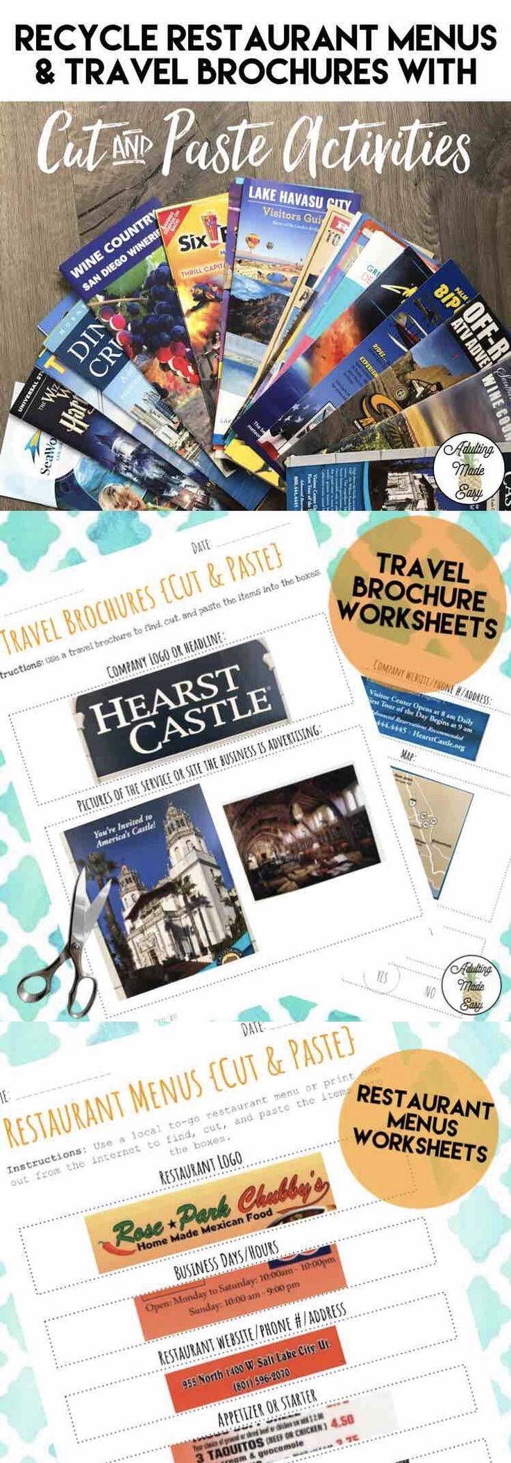 Recycle restaurant menus & travel brochures with this cut and paste reading activity for special education life skills students. #lifeskills #reading #sped #specialeducation #cutandpaste #recycle #brochures #restaurantmenu