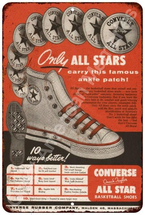 Converse Rubber Company Vintage Look Reproduction Metal Sign 8x12 8122470