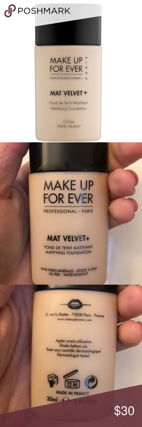 New/ Make Up Forever Mat Velvet Foundation Tried once to test color and shade was not right.   Makeup Forever Mat Velvet Mattifying Foundation  Shade #35 Vanilla : for medium skin tones with yellow/ beige undertones   Description: Velvety smooth & lightweight fluid makeup Provides a natural, matte look with non-oily powdery finish Cover blemishes, imperfections & evens out skin tone Leaves you a flawless complexion throughout the day Waterproof & long lasting Non comedogenic formula…