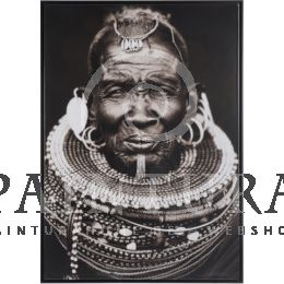J-Line Glazen kader Afrikaans stamhoofd wanddecoratie J-Line #kader #wanddecoratie #glassframe #frame #afrikaans #decoration #african