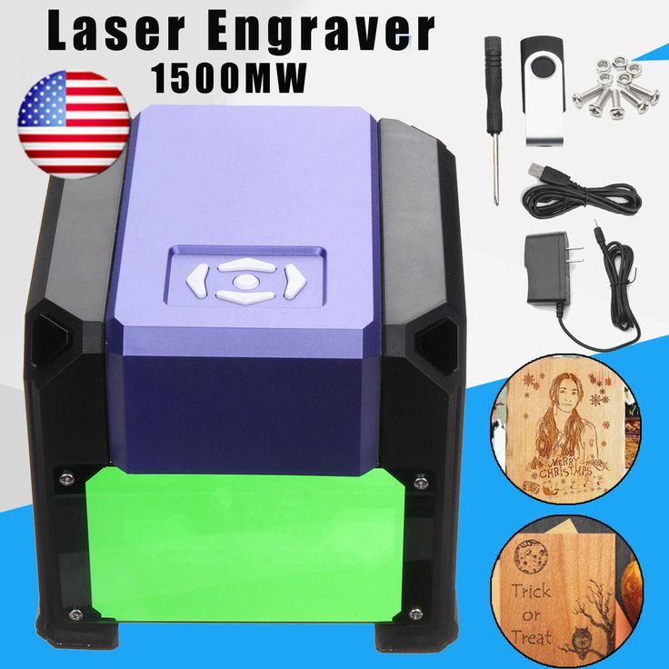US 1500mW USB Laser Engraver DIY Logo Mark Printer Cutter Carver Machine Fast