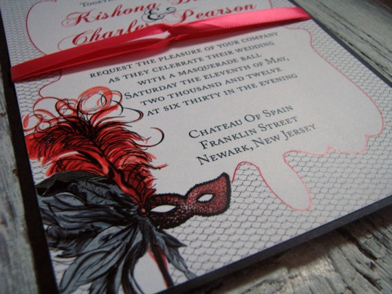 Masquerade Ball Themed Wedding Invitations By MissNicMedia On Etsy