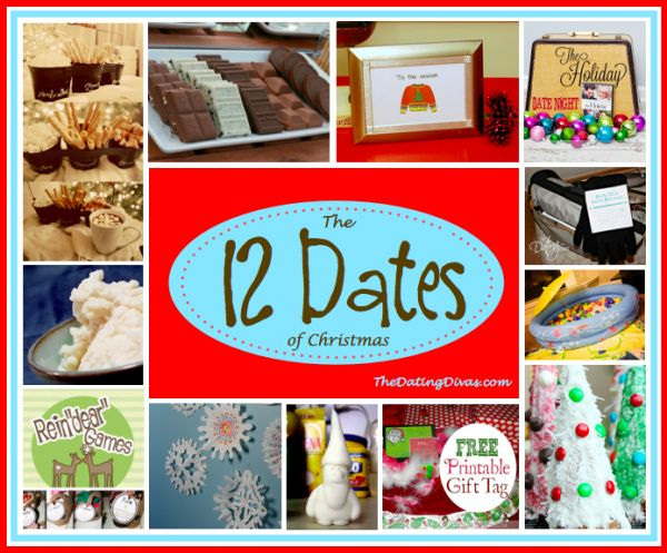 The 12 Dates of Christmas. Lots of great ideas to celebrate this holiday with your loved one. www.TheDatingDivas.com #ChristmasDate #WinterDate #12DatesofChristmas