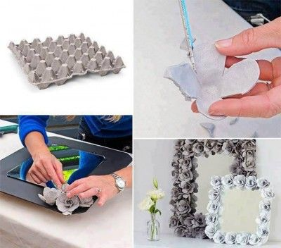How to make pretty flower flame step by step DIY tutorial instructions 400x352 How to make pretty flower mirror decoration with egg cartons ...