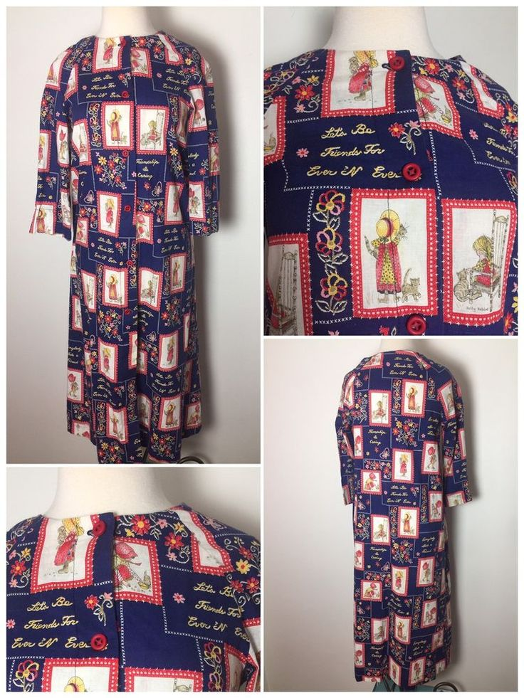 HANDMADE 70s Vintage Holly Hobby Best friends forever caftan shirt a line dress    eBay