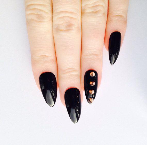 Rose Nail Art Acrylic Nails: Rose Gold Spike Stiletto Nails, Nail Designs, Nail Art