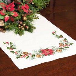 Dimensions,  Chemin de table  Plantes  de  Noël