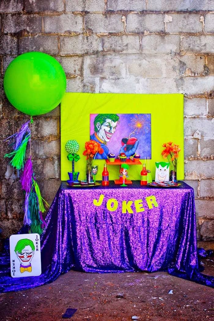 Joker dessert table from a Joker Inspired Mad Love Birthday Party via Kara's Party Ideas   KarasPartyIdeas.com - The Place for All Things Party! (8)