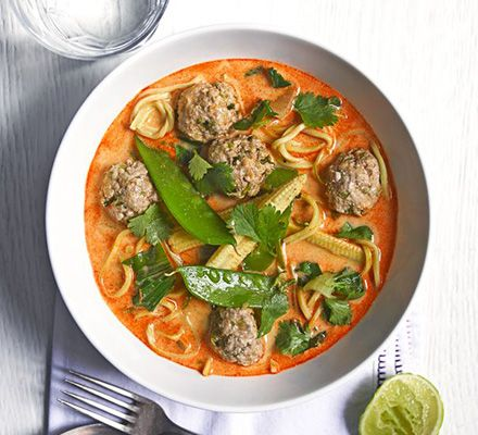 Thai coconut soup with turkey meatballs | BBC Good Food