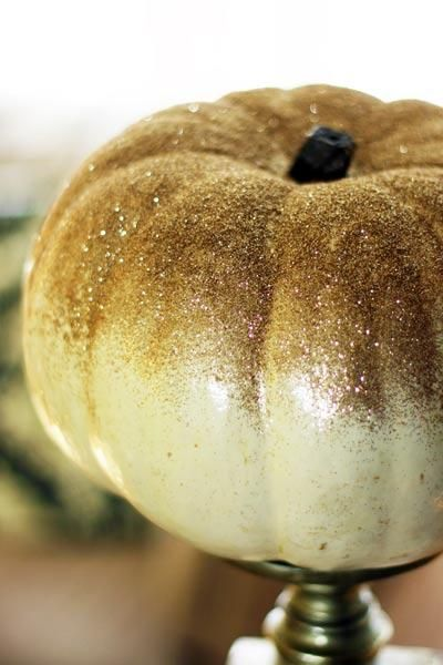 Add elegance to your Thanksgiving dinnertable with a glitter pumpkin centerpiece like this DIY project from @Hawlie Ohe | thisoldhouse.com
