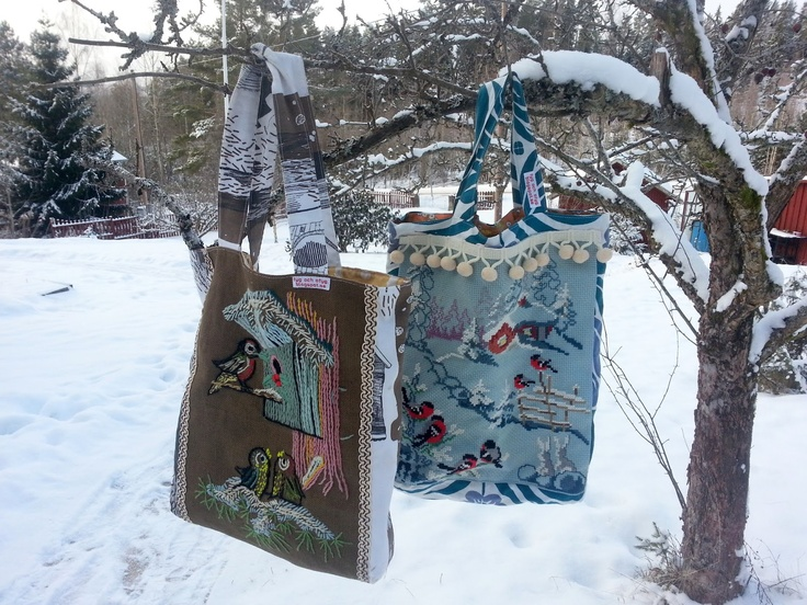 Upcycled embroidery tote bags
