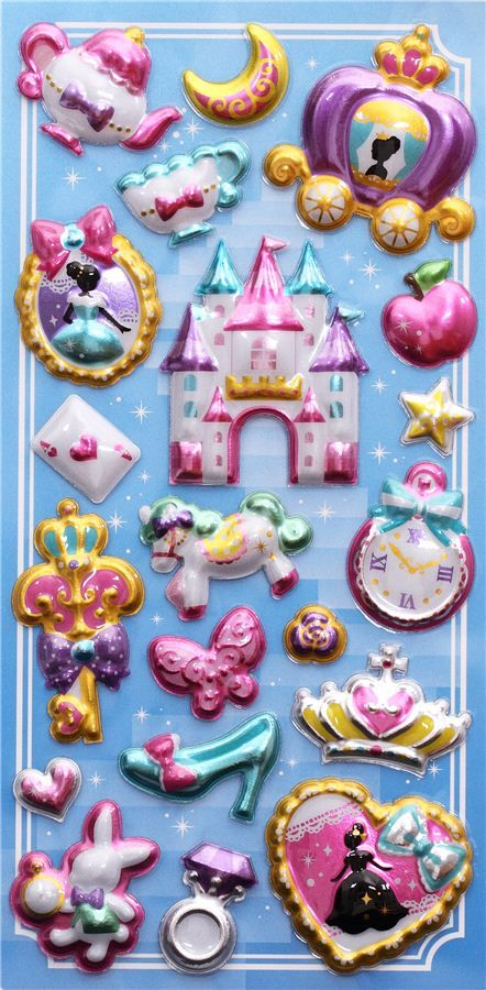 princess fairy tale metallic 3D stickers by Mind Wave