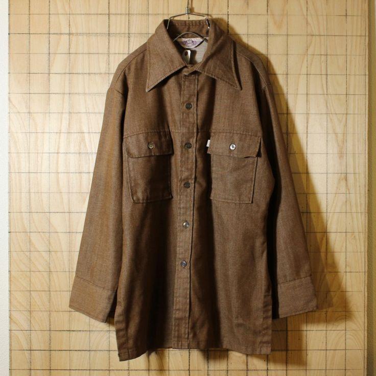 Levi's PANATELA/70sビンテージ古着/ブラウン/コットンシャツ/メンズL