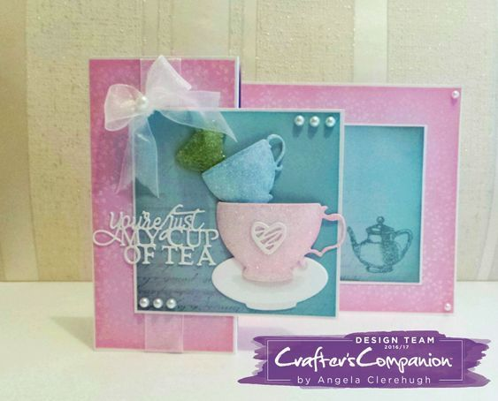 Z fold card made using Sara Signature Vintage Tea Party Collection –designed by Angela Clerehugh #crafterscompanion #ccgemini