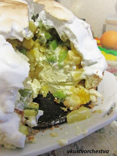 Торт с мороженым и фруктами внутри. Пошаговый рецепт с фото