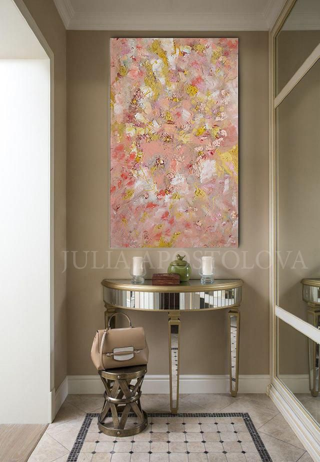 Rose Gold Leaf Original Painting Coral Pink Elegant Wall Art With Tender Pastel Colors Gift For Her In 2020 Elegant Wall Art Pastel Colors Coral Wall Art