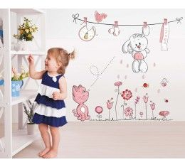 Cat & Bunny wall sticker available at www.kidzdecor.co.za. Free postage throughout South Africa