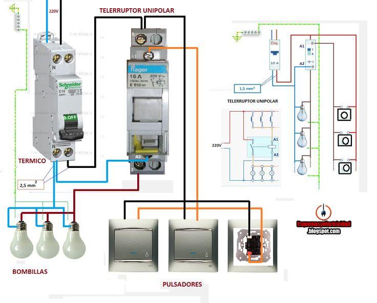 Esquemas eléctricos: como conectar telerruptor unipolar