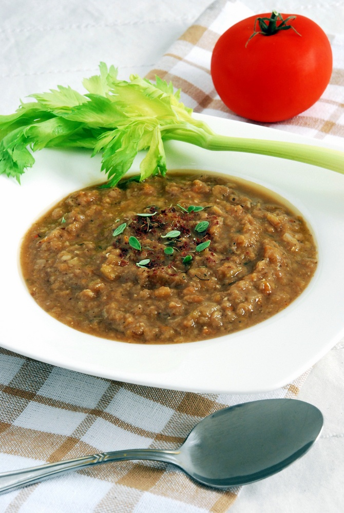 Delicious, nutritious, warming red lentil soup with tomatoes, celery, cumin and sumach.