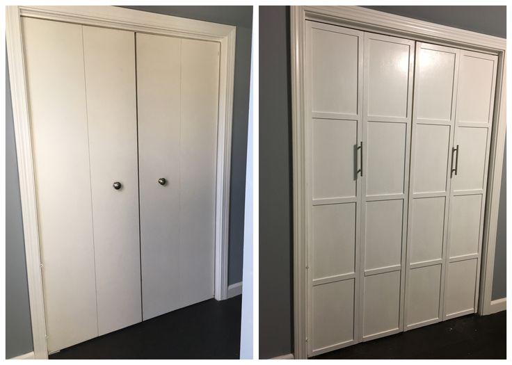 Bifold door update!  Used trim to border the doors and added new handles!