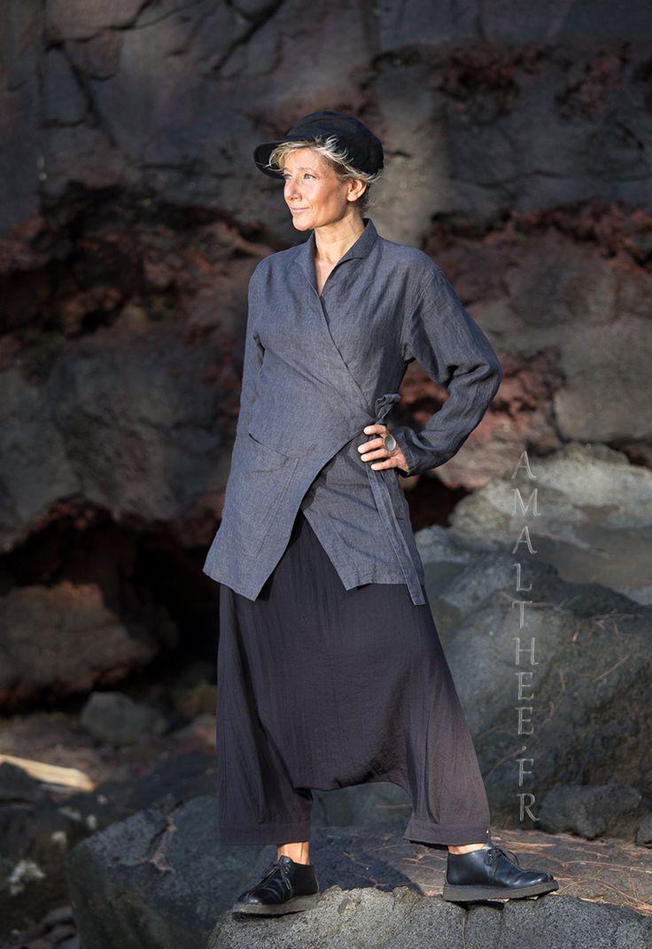 Women fashionable slate grey linen outfit -:- AMALTHEE -:- n° 3434