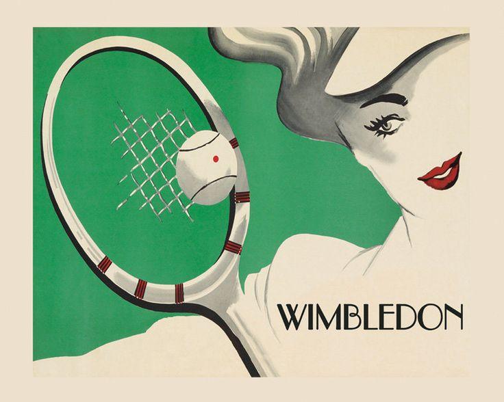 Campo da tennis 16 x 20 signora Wimbledon di HeritagePosters