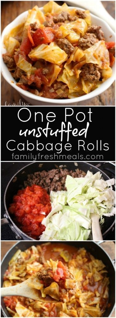 awesome One Pot Unstuffed Cabbage Rolls - A fast, cheap family meal! FamilyFreshMeals.co...
