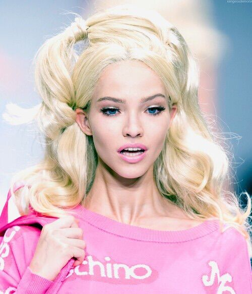 Image via We Heart It #barbie #blonde #blue #eye #model #Moschino #pink #runway