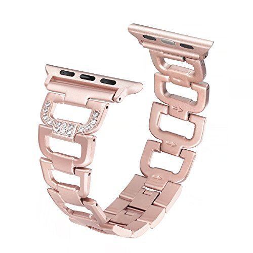 Apple Watch Band 42mm Secbolt Stainless Steel Bling Diamond Rhinestone Metal Replacement Wristband Strap for Apple iWatch Nike Series 3 Series 2 Series 1 Sport Edition Rose Gold