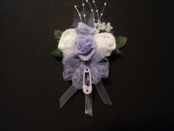 Lavender Girl's Baby Sock Rose Corsage Baby Shower Gift