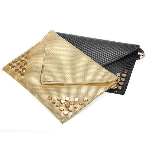 This clutch bag is made of good material PU leather, envelop rivet handbag, women shoulder bag, two colors black and gold, it make you elegant and fashionable, it can be used in many occasions.  Details: Material : PU                                       Color : Black,Gold Weight : About 41...