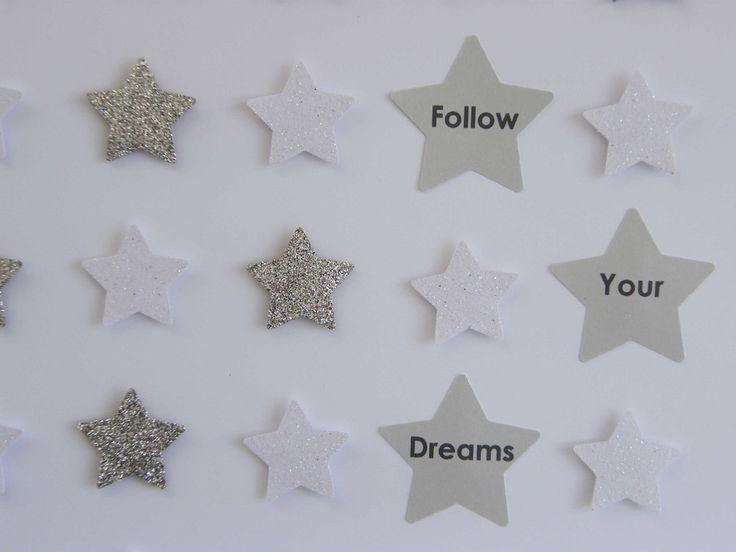 Image of Stars - Small - White/Silver Glitter