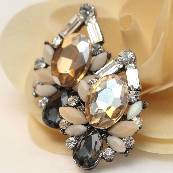 Women's fashion earrings New arrival brand sweet metal with gems stud crystal earring for women girls-in Drop Earrings from Jewelry on Aliexpress.com   Alibaba Group