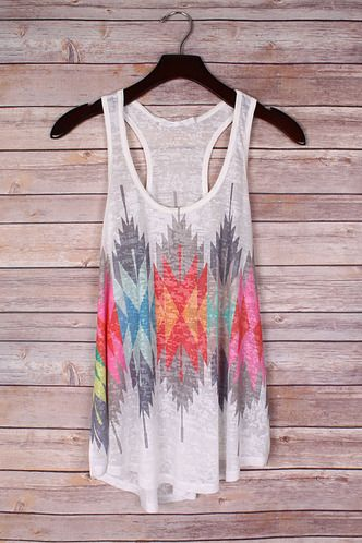 Bright Aztec Feather Racer Back Tank Top | Jack & Monroe Boutique | Free Shipping | S-L